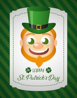 Leprechaun irlandese faccia, cartolina d'auguri di san patrizio