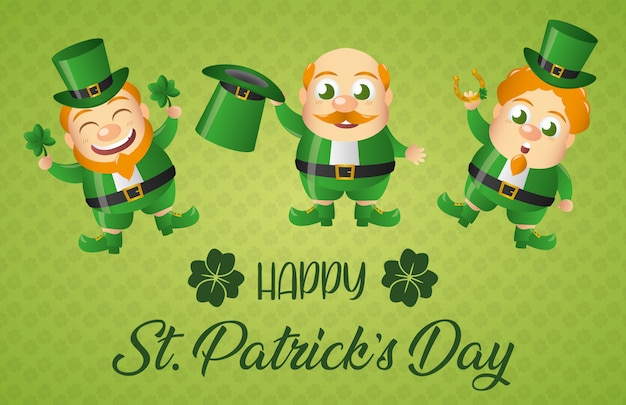 Leprechaun irlandese impostare la cartolina d'auguri, giorno di san patrizio