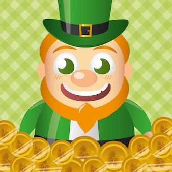 Leprechaun irlandese su una pila di monete, felice giorno di san patrizio