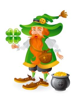 Leprechaun sveglio del fumetto in cappello verde con l'acetosella e la pentola delle monete di oro.