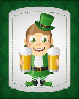 Leprechaun verde con birra, felice giorno di san patrizio