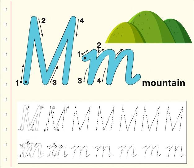 Letter m tracing worksheet di alfabeto