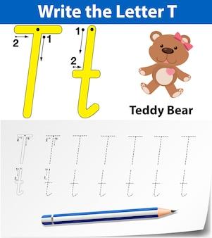 Letter t tracing worksheet di alfabeto