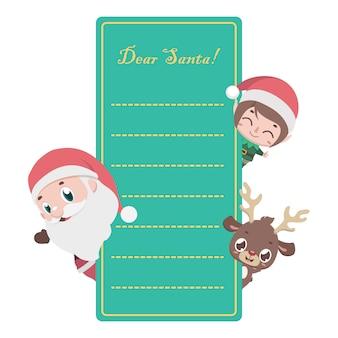 Lettera a babbo natale con personaggi natalizi