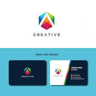 Lettera a con modello di progettazione logo esagonale