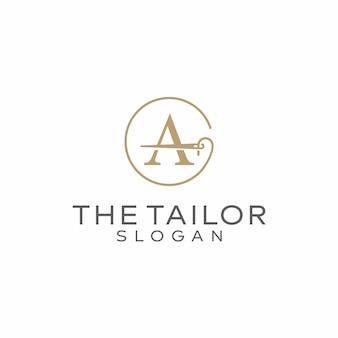 Lettera a modello di design logo di sartoria