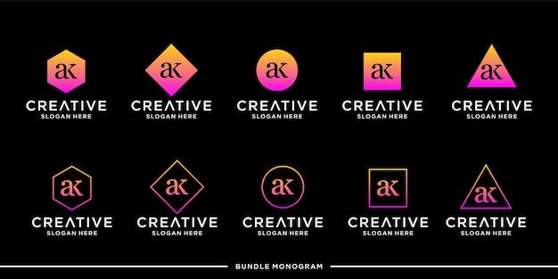 Lettera ak logo monogram design collection