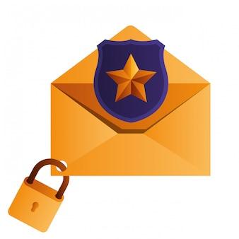Lettera aperta con scudo e icone isolate di finestra