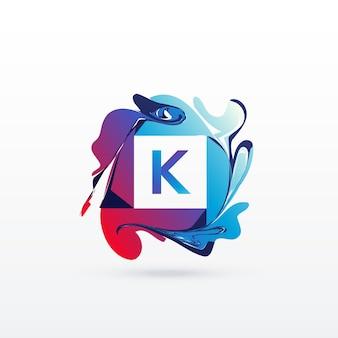 Lettera astratta modello di progettazione logo k