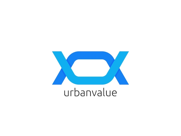 Lettera astratta onu, modello icona logo uv. illustrazione creativa di vettore di concetto di progettazione di apps del infinito