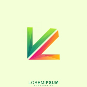 Lettera astratta vv, lettera k, logo freccia