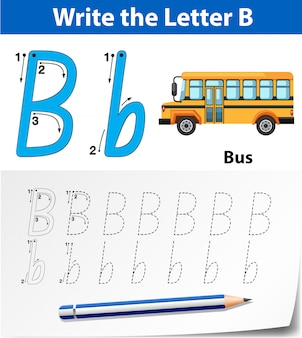 Lettera b che traccia i fogli di lavoro dell'alfabeto