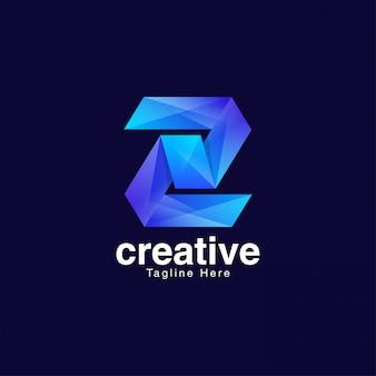 Lettera blu z logo design vector template