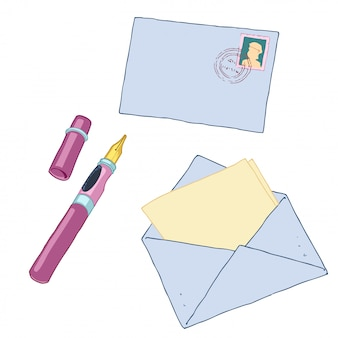 Lettera con timbro e penna