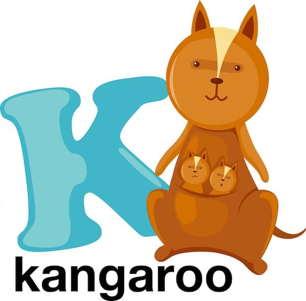 Lettera di alfabeto animale - k