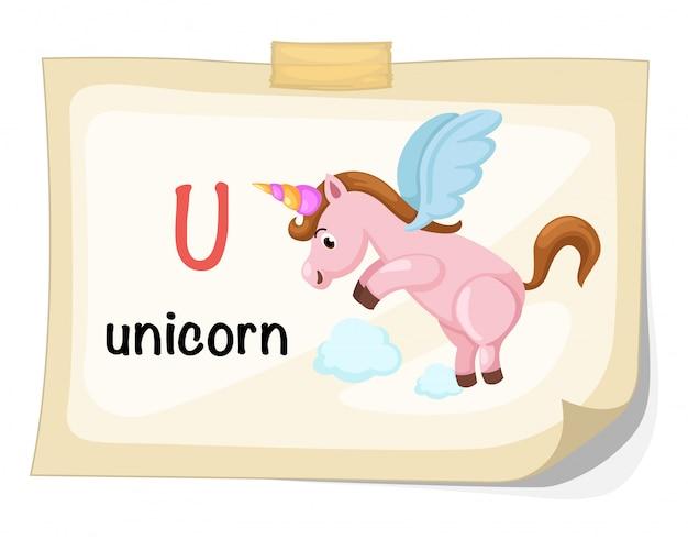 Lettera di alfabeto animale u per vettore dell'illustrazione dell'unicorno