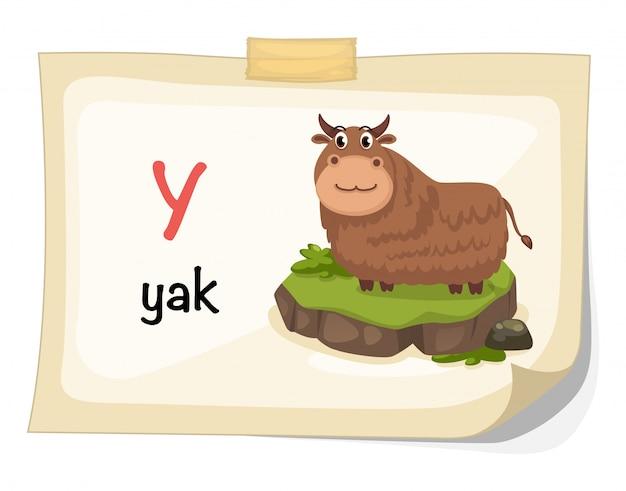 Lettera di alfabeto animale y per il vettore dell'illustrazione dei yak