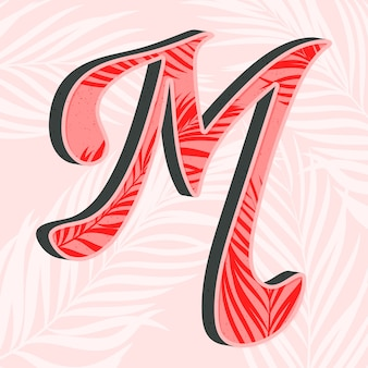 Lettera di alfabeto creativo m con foglie