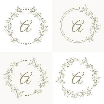 Lettera di lusso a logo design con modello di sfondo cornice floreale