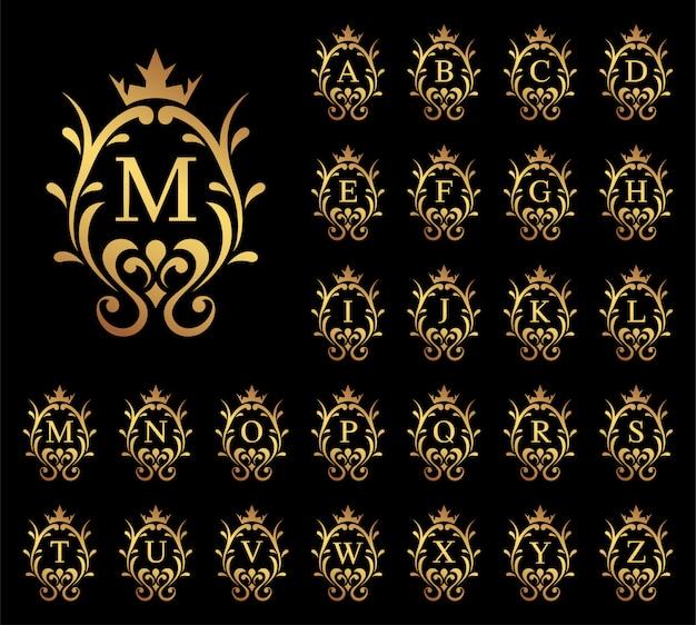 Lettera di lusso dorata dalla a alla z su priorità bassa nera