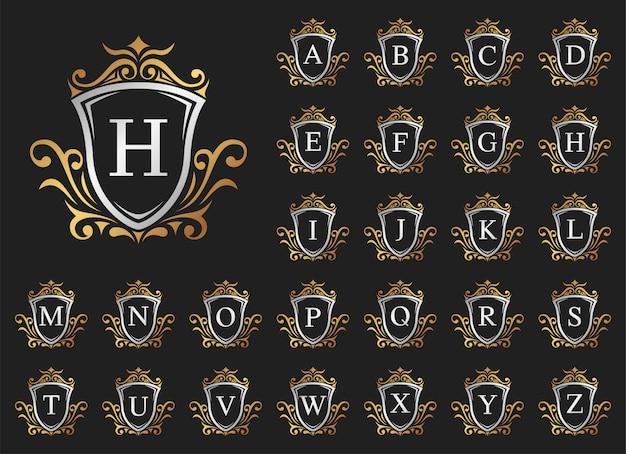Lettera di lusso in oro e argento dalla a alla z