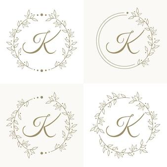 Lettera di lusso k logo design con modello di sfondo cornice floreale
