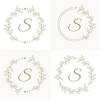 Lettera di lusso s logo design con modello di sfondo cornice floreale