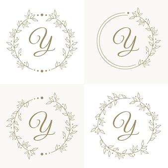 Lettera di lusso y logo design con modello di sfondo cornice floreale