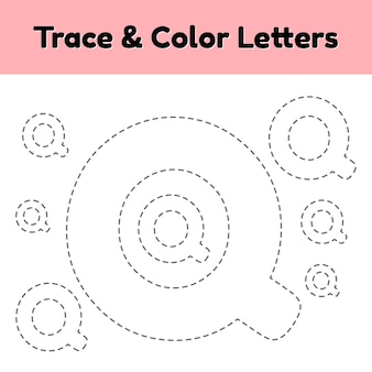 Lettera di traccia per bambini dell'asilo e della scuola materna. scrivi e colora q.