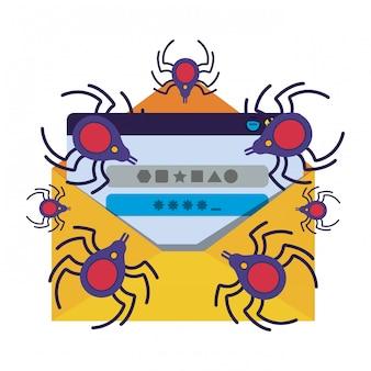 Lettera e finestra con icona isolata ragno