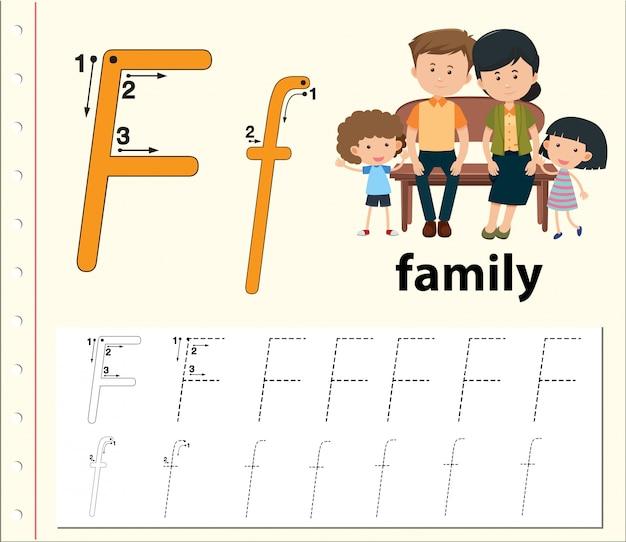 Lettera f che traccia i fogli di lavoro dell'alfabeto