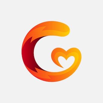 Lettera g con design del logo di amore