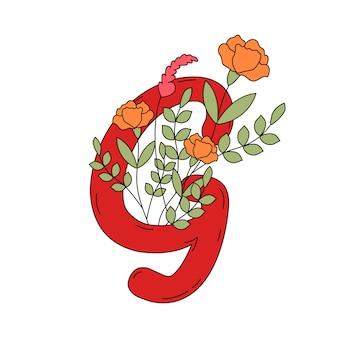 Lettera g con foglie e fiori vettoriale