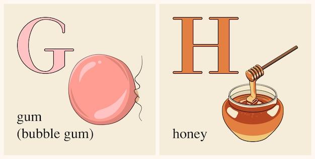 Lettera g con gomma da masticare