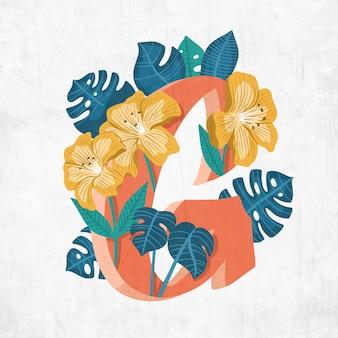 Lettera g creativa con fiori e foglie