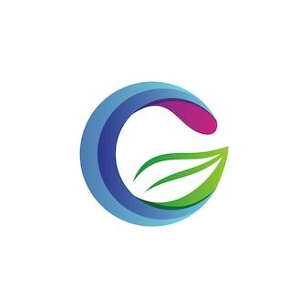 Lettera g logo foglia vettoriale