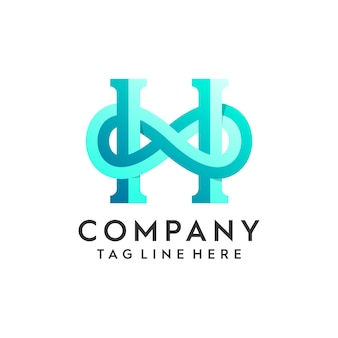 Lettera h logo concept & infinity shape