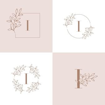 Lettera i logo con elemento foglia di orchidea