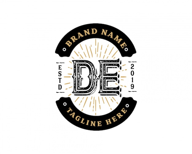 Lettera iniziale creativa de retrò vintage hipster e grunge logo vettoriale design
