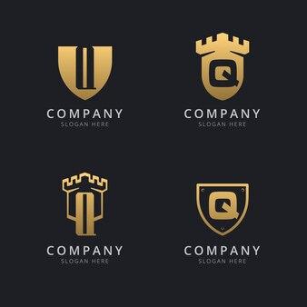 Lettera iniziale q e scudo con stile dorato