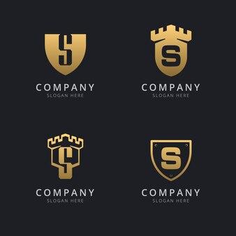 Lettera iniziale s e scudo con stile dorato