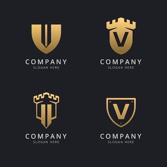 Lettera iniziale v e scudo con stile dorato