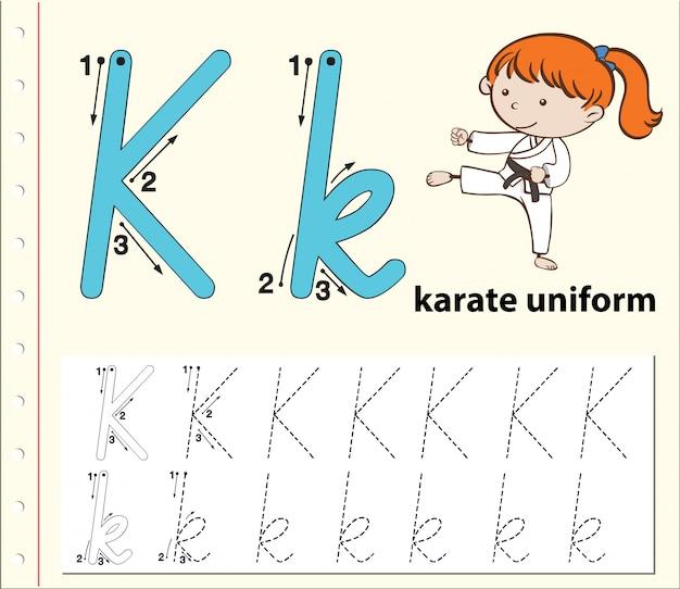 Lettera k che traccia i fogli di lavoro dell'alfabeto