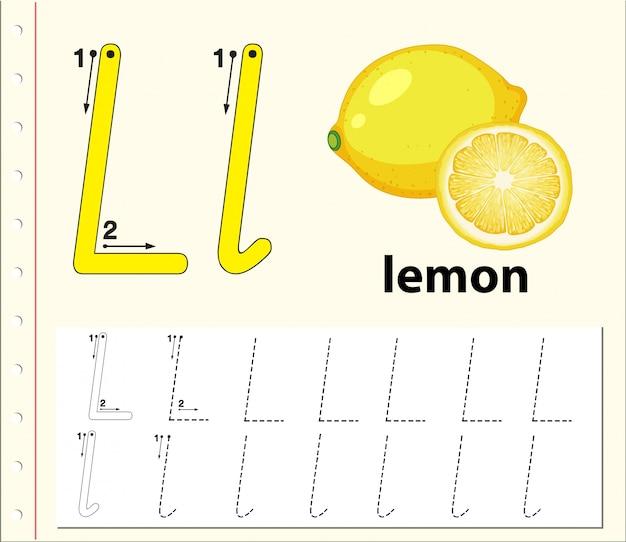 Lettera l tracciando i fogli di lavoro dell'alfabeto