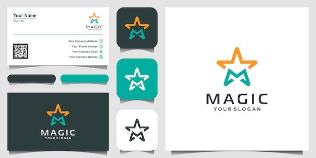 Lettera m con ispirazione al design del logo di arte linea stelle. logo e design biglietto da visita