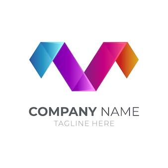Lettera m + lettera v monogram logo