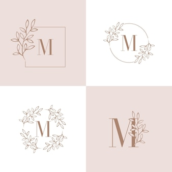 Lettera m logo design con elemento foglia di orchidea