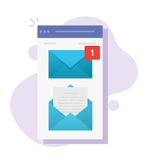 Lettera mobile di posta digitale da leggere e leggere design app a schermo piatto a bordo del fumetto