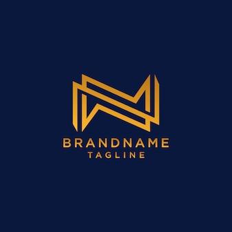 Lettera n con logo di linea astratta iniziale forte e colorato alfabeto logotipo