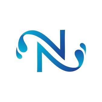 Lettera n con modello di logo di spruzzi d'acqua